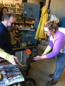 glass blowing action shot